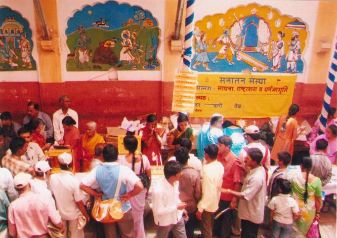 Spreading spirituality by setting up bookstalls of Sanatan's Holy texts at various places