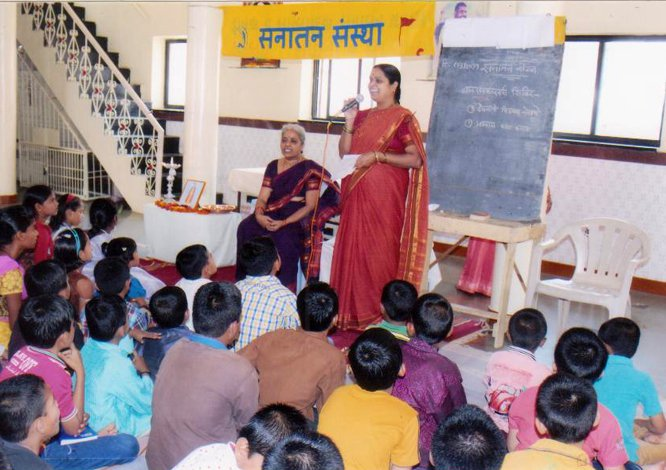 Inculcating sanskars in children by organizing Balsanskar varg (sessions) so that our future generation becomes capable to build a strong Nation