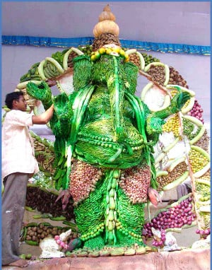 Shri Ganapati idol made from vegetables