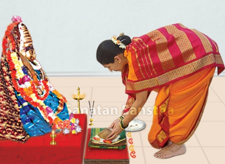 'Oti bharane' - Offering a sari and a blouse-piece to Godess