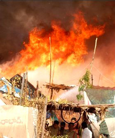 Destruction caused due to fire-crackers