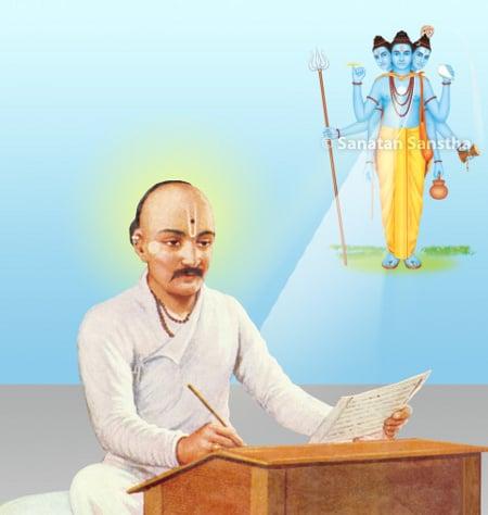Saint Eknath maharaj writing Datta arati