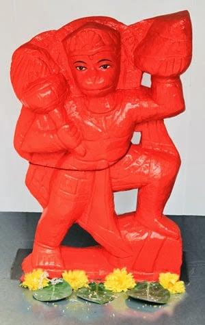 Hanuman : smeared with sindur (vermilion)