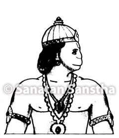 Hanuman facing the left-side