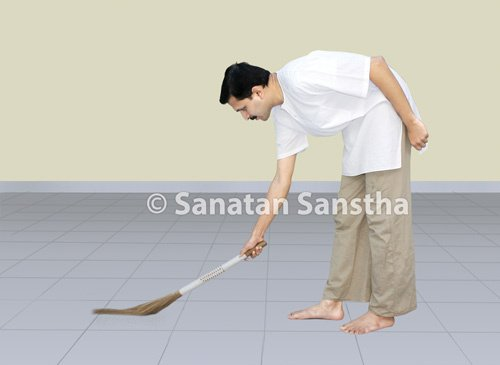 Sweeping with a broom