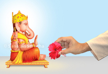 Offering red flower to Shri Ganapati