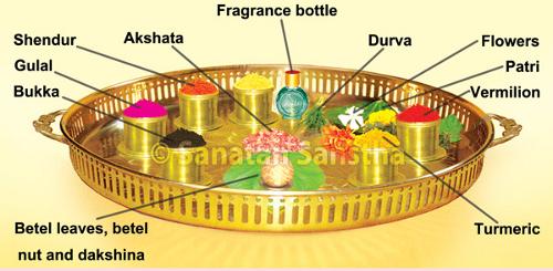 Arrangement of substances in a ritualistic platter