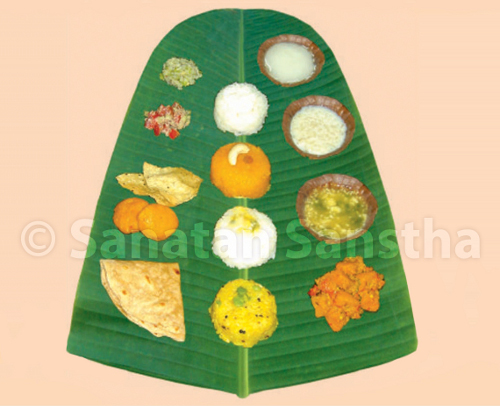 Banana leaf used to offer Naivedya to a Deity