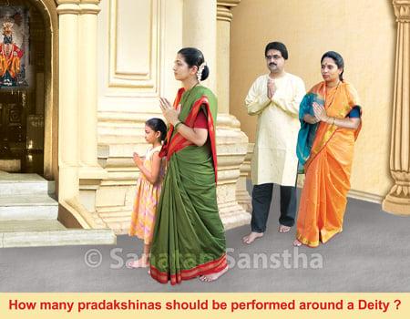 How many pradakshinas (circumambulations) should be performed around