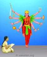 साधिका श्री दुर्गादेवीचे <br> चित्र काढतांना