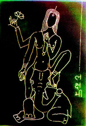 हिंदुद्वेष्टे चित्रकार म.फि. हुसेन यांनी रेखाटलेले श्री लक्ष्मीदेवीचे विडंबनात्मक चित्र